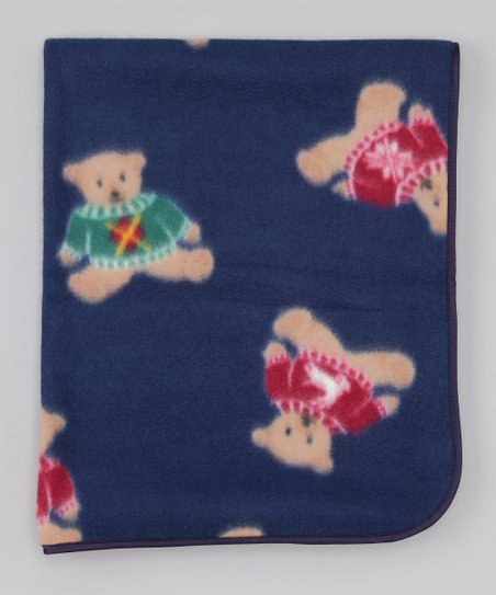 Navy Bear Stroller Blanket
