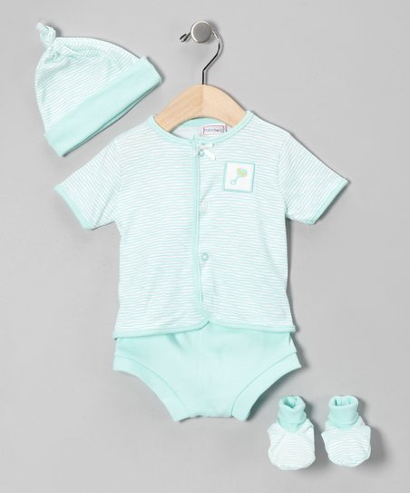 Aqua Stripe Rattle Tee Set