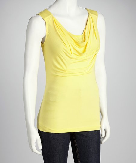 Randy Kemper Sunny Yellow Drape Sleeveless Top