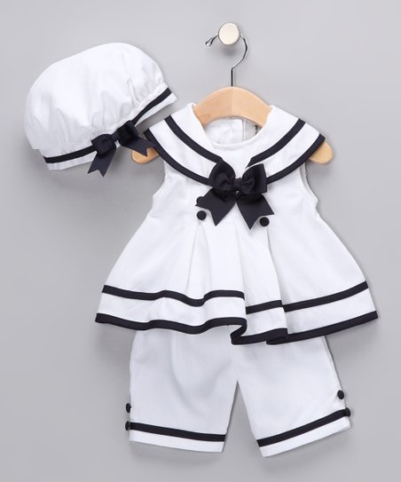 White &amp; Navy Nautical Capri Set - Infant