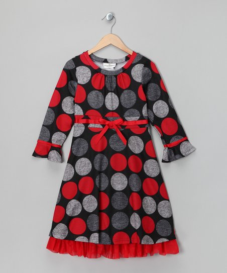 Red & Gray Polka Dot Dress - Girls