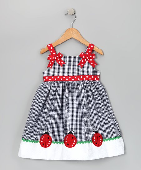 Navy Ladybug Seersucker Dress - Toddler