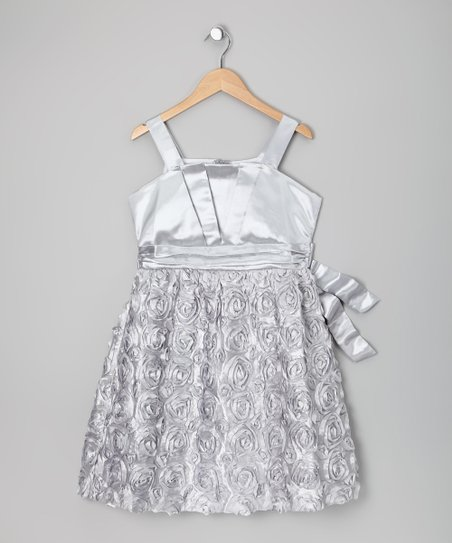 Silver Origami Soutache Dress - Girls