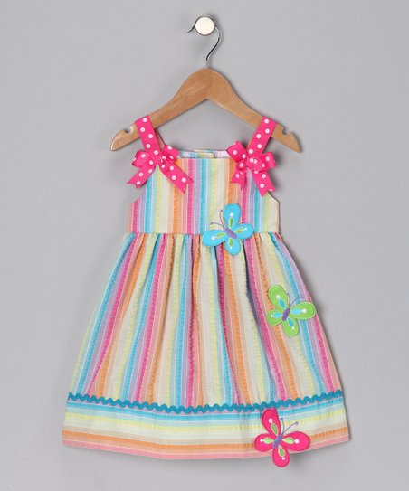 Fuchsia Stripe Dress - Toddler