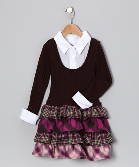 Brown & Pink Plaid Layered Ruffle Dress - Girls