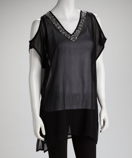 Black Embellished Sheer Cutout Tunic