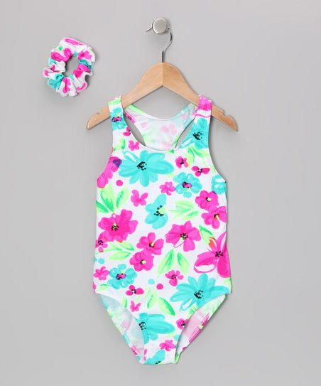 Turquoise & Pink Flower Wide-Strap One-Piece & Hair Tie - Girls