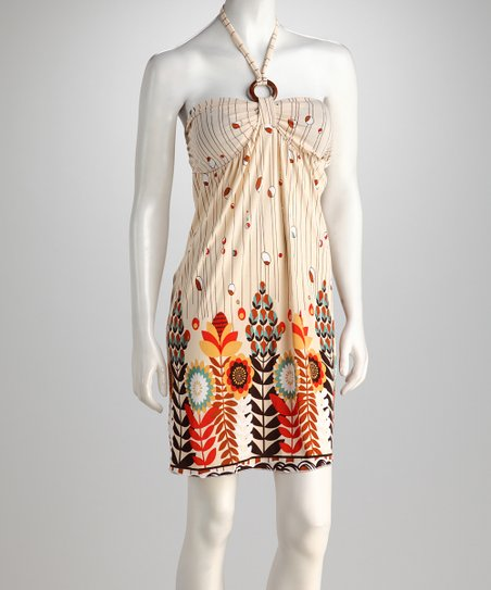 Cream & Red Abstract Garden Halter Dress