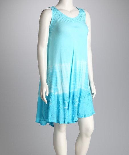Turquoise Dip-Dye Dress - Women