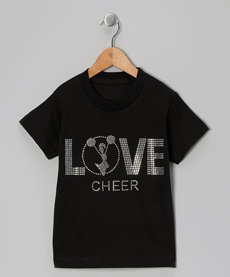 Black 'Love Cheer' Tee - Toddler & Girls