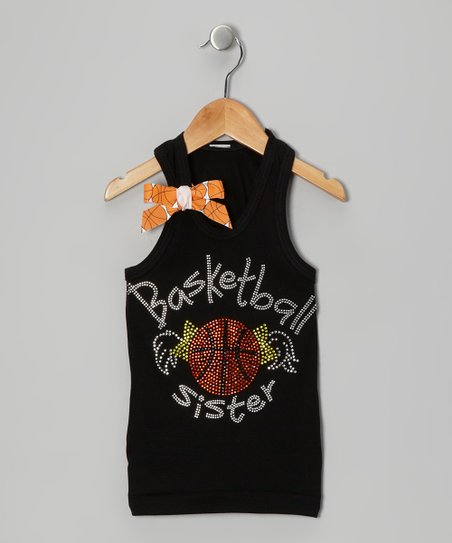 Black 'Basketball Sister' Bow Tank - Infant, Toddler & Girls