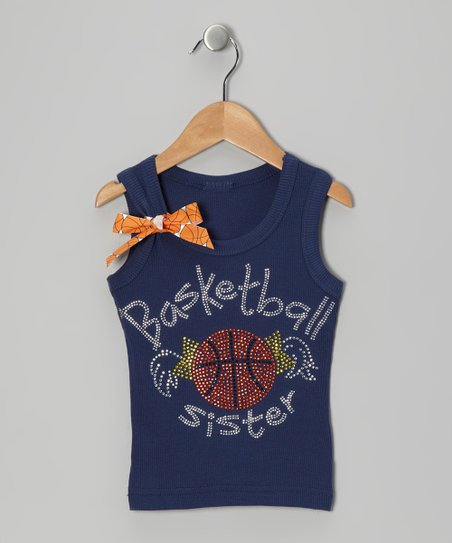 Navy 'Basketball Sister' Bow Tank - Infant, Toddler & Girls