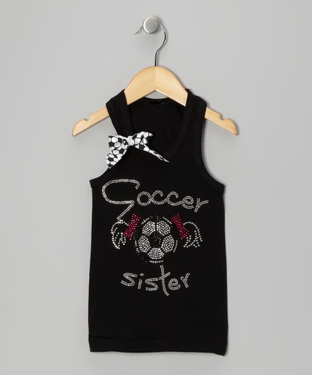 Black 'Soccer Sister' Bow Tank - Infant, Toddler & Girls