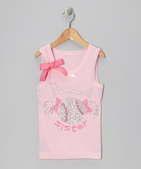 Pink 'Baseball Sister' Bow Tank - Infant, Toddler & Girls