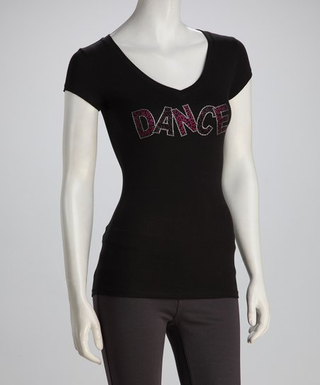 Black &#039;Dance&#039; V-Neck Tee - Women &amp; Plus