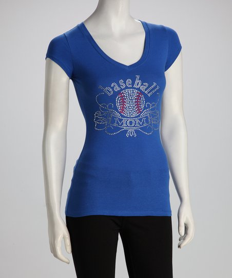 Royal Blue 'Baseball Mom' V-Neck Tee - Women