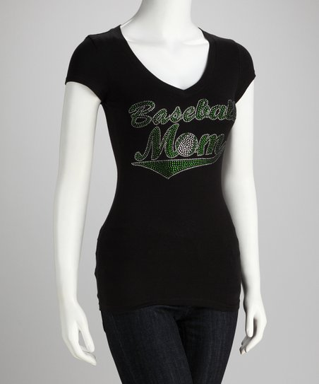 Black & Green 'Baseball Mom' V-Neck Tee - Women & Plus