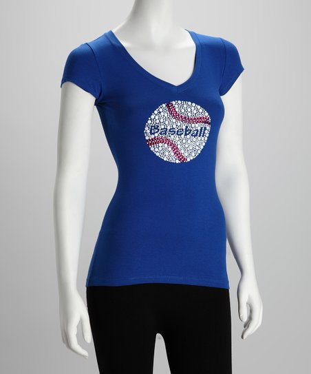 Blue 'Baseball' V-Neck Tee - Women