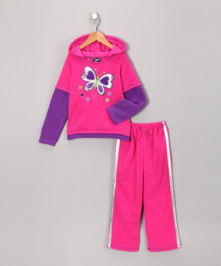 Pink Butterfly Layered Hoodie & Pants - Toddler
