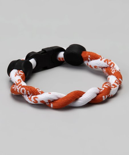Burnt Orange & White Fanwear Titanium Sports Bracelet