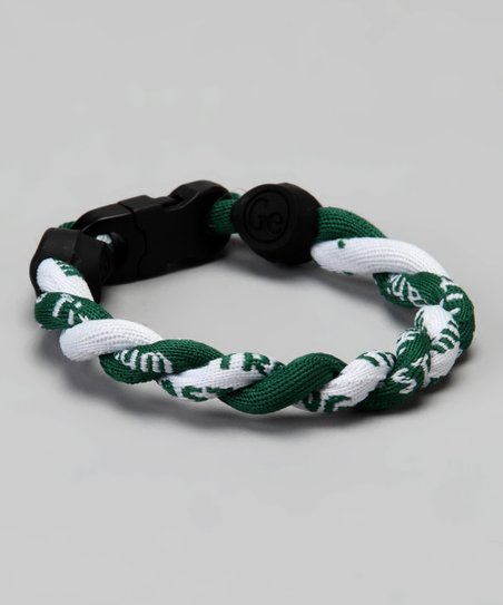 Green & White Fanwear Titanium Sports Bracelet