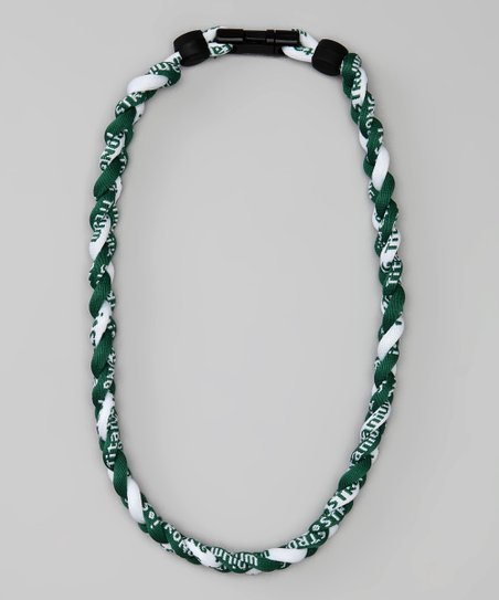 Green & White Fanwear Titanium Sports Necklace