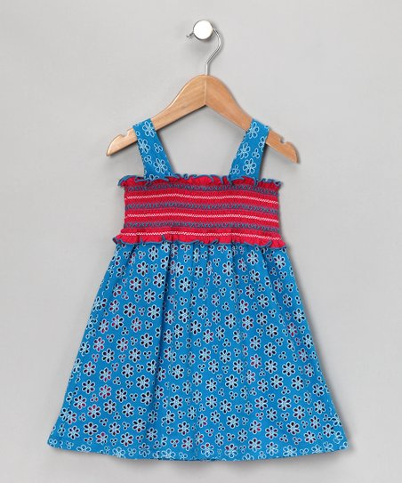 Turquoise Daisy Smocked Dress - Girls