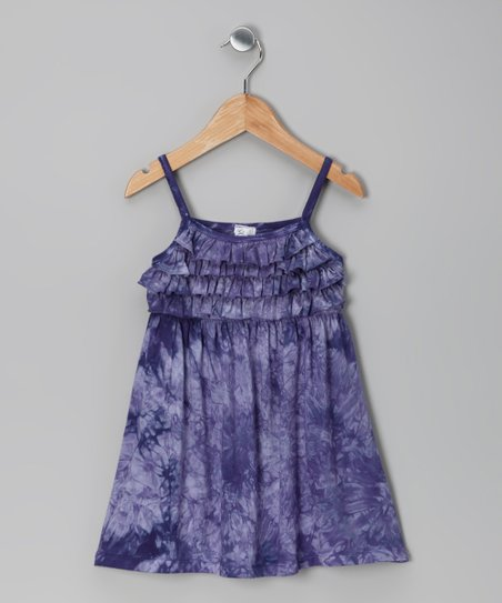 Purple Tie-Dye Ruffle Dress - Girls