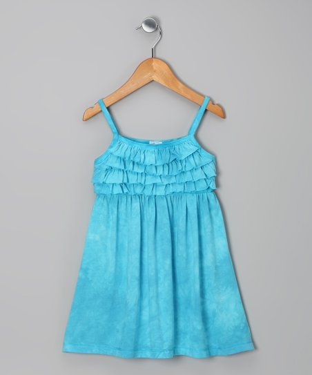 Turquoise Tie-Dye Ruffle Dress - Toddler & Girls