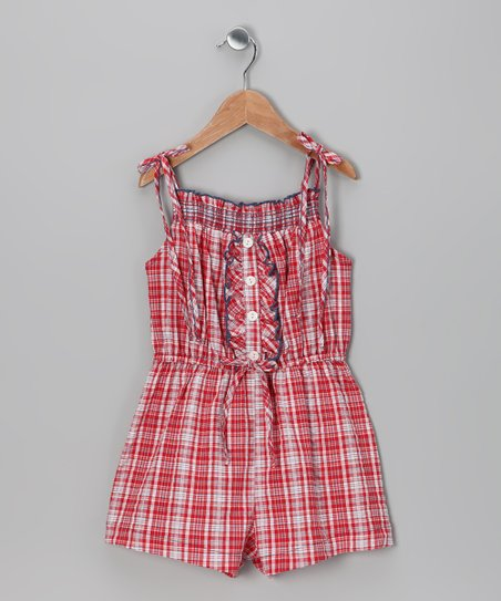Red Plaid Smocked Romper - Girls