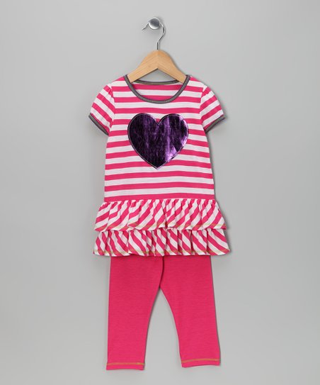Fuchsia & White Heart Tunic & Leggings - Toddler & Girls