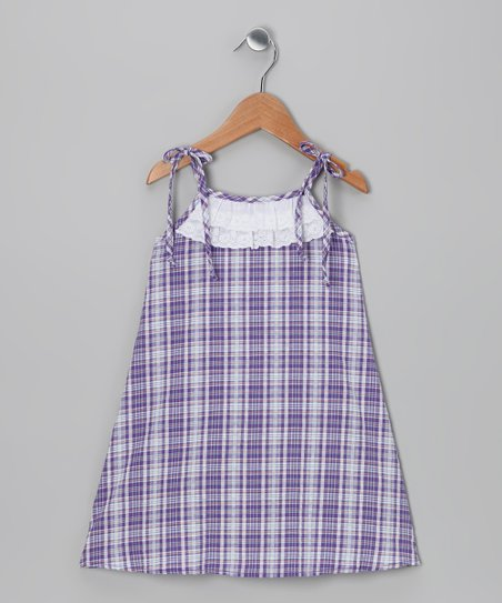 Purple Plaid Seersucker Dress - Toddler & Girls