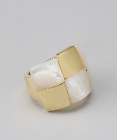 Mother-of-Pearl & Gold Checkerboard Ring
