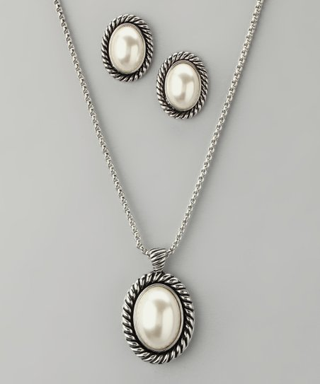 Pearl & Spiral Earrings & Pendant Necklace