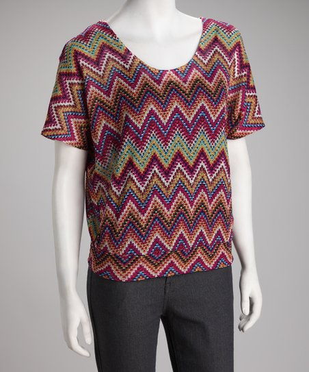 Orange Zigzag V-Neck Top