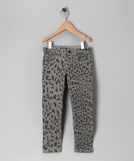 Gray Snow Leopard Skinny Jeans - Toddler & Girls