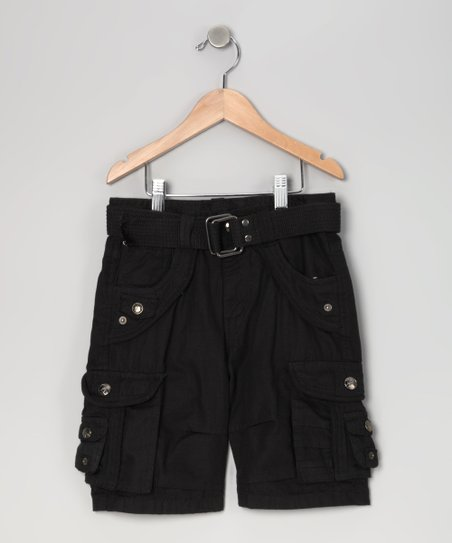 Black Cargo Shorts - Boys