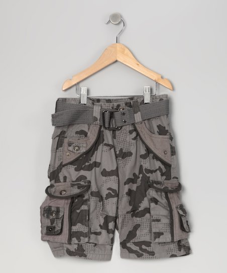 Slate Gray City Camouflage Cargo Shorts