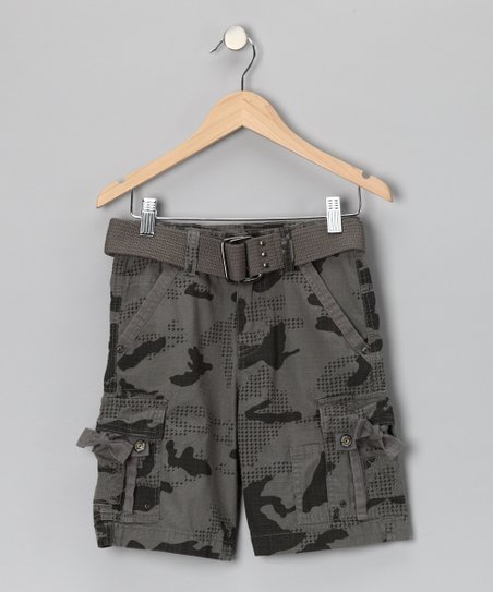 Warm Gray City Camouflage Cargo Shorts - Boys