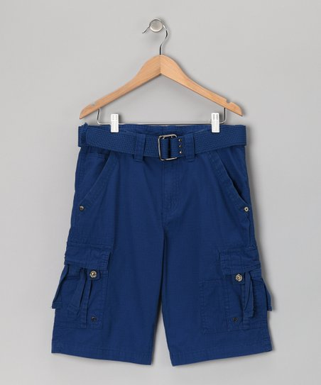 Royal Blue Belted Cargo Shorts