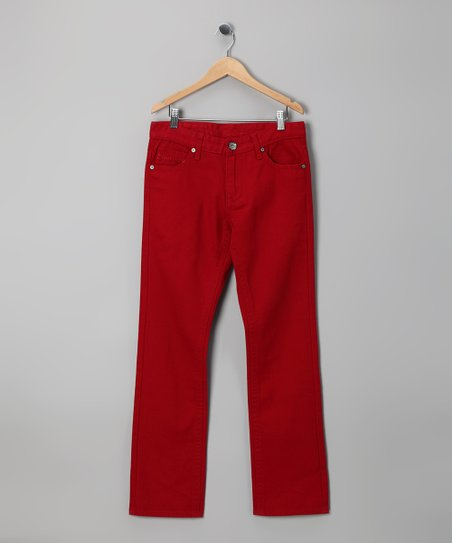 Red Straight-Leg Pants - Boys