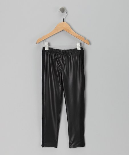Black Faux Leather Leggings - Toddler & Girls