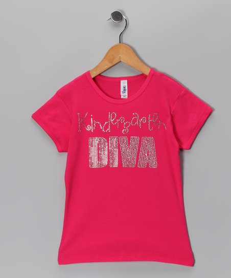 Hot Pink 'Kindergarten Diva' Tee - Girls