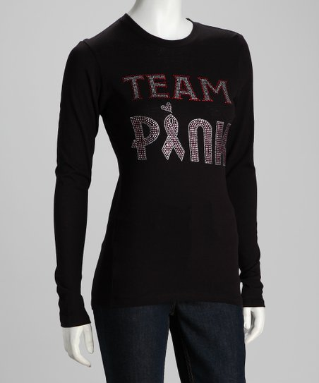 Rhinestone Junkie Black 'Team Pink' Long-Sleeve Tee