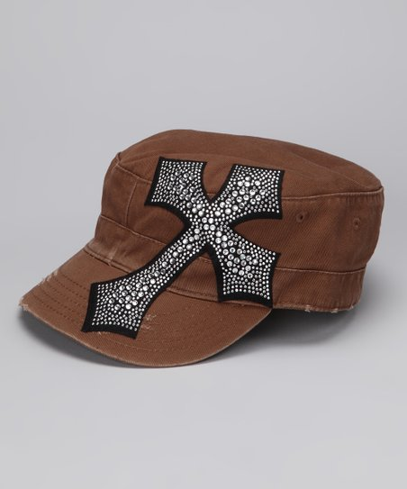 Brown Rhinestone Cross Cadet Cap