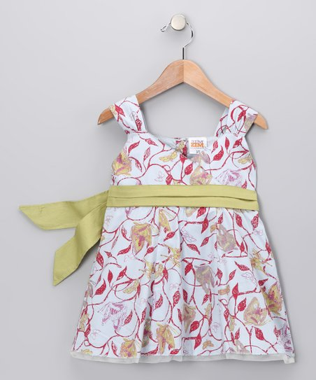 Gray & Red Leaves Bow Surplice Dress - Toddler