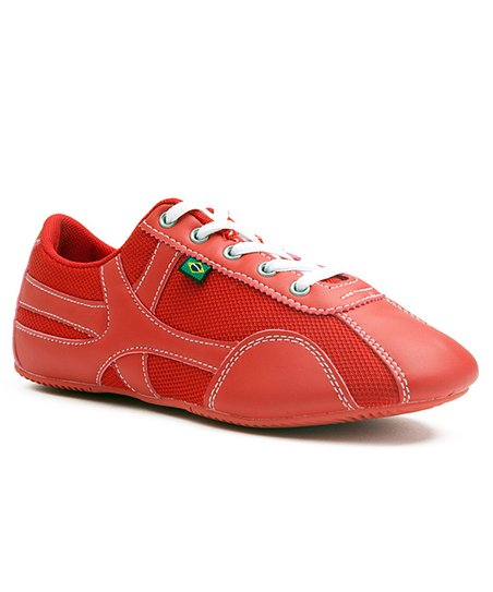 Red & White Stitched Amor Sneaker - Women