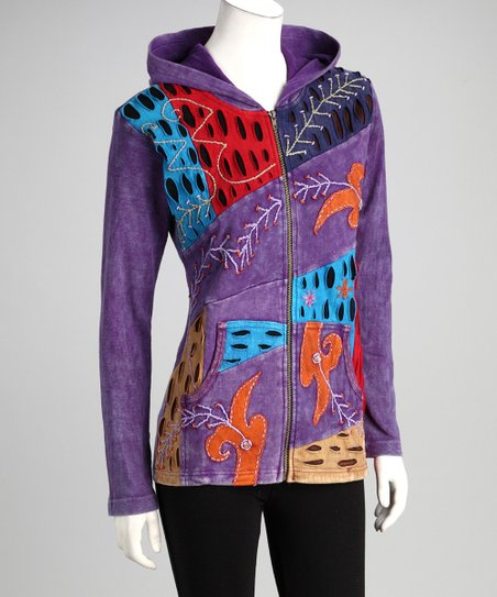 Purple Earth Zip-Up Hoodie - Women