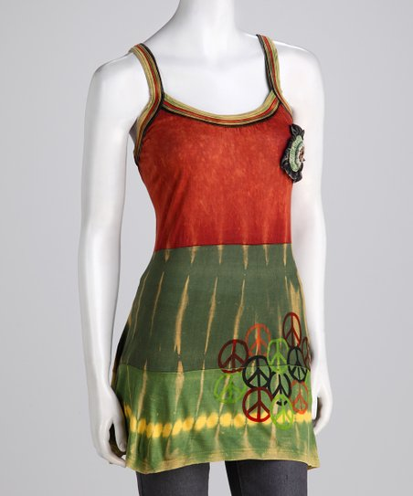 Green & Red Peace Sign Tank - Women