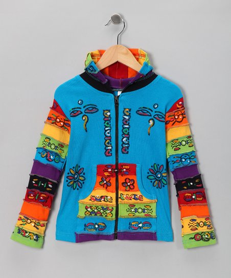 Turquoise Rainbow Zip-Up Hoodie - Toddler & Kids